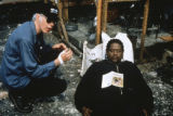 Jim Jarmusch and Forest Whitaker during production of GHOST DOG: THE WAY OF THE SAMURAI, 1999